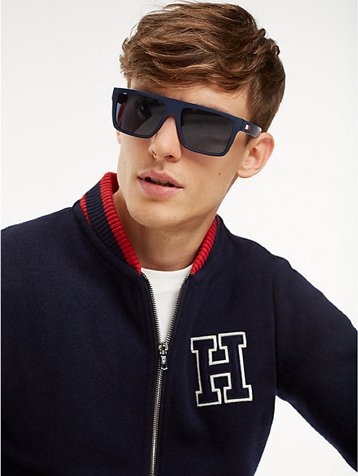 TOMMY HILFIGER Rectangular Sunglasses - MATTE BLUE / RED RUBBER BLUE AVIO - TOMMY HILFIGER Sunglasses - main image