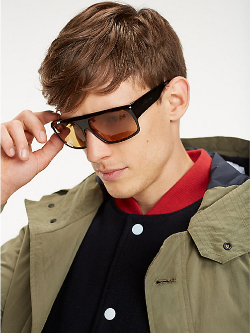 TOMMY HILFIGER Runway Rectangular Sunglasses - HAVANA NICOTINE - TOMMY HILFIGER Hilfiger Collection - main image