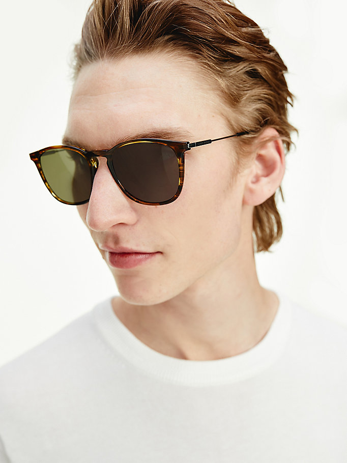 khaki acetate rounded square sunglasses for men tommy hilfiger
