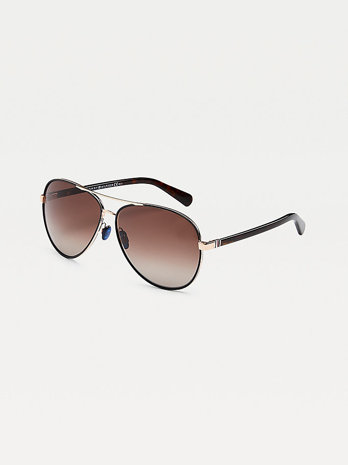 black double bridge aviator sunglasses for unisex tommy hilfiger