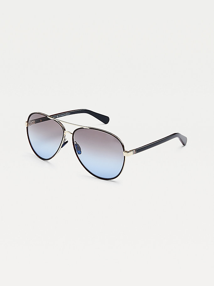 gold double bridge aviator sunglasses for unisex tommy hilfiger
