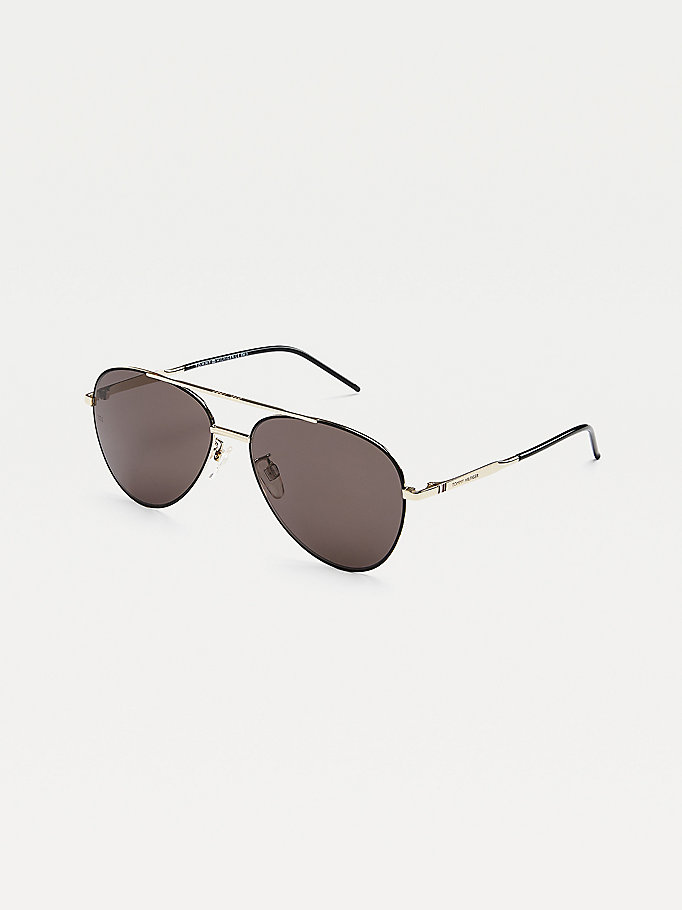 black solid lens aviator sunglasses for unisex tommy hilfiger