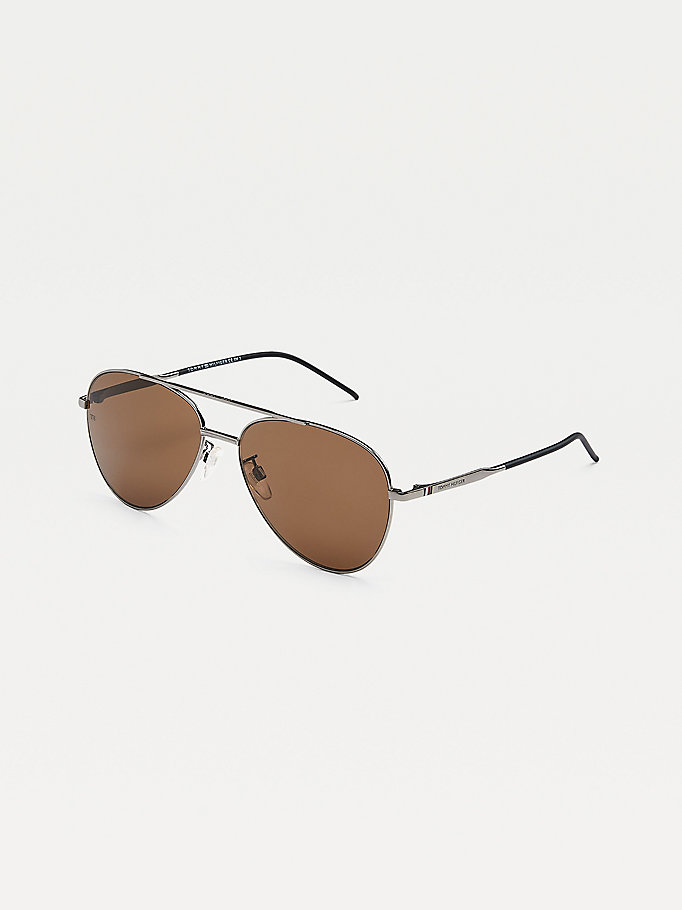 grey solid lens aviator sunglasses for unisex tommy hilfiger