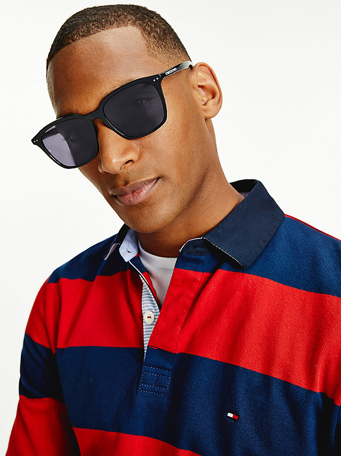 black tortoiseshell square sunglasses for men tommy hilfiger