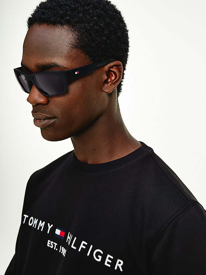 black rectangular pique sunglasses for men tommy hilfiger