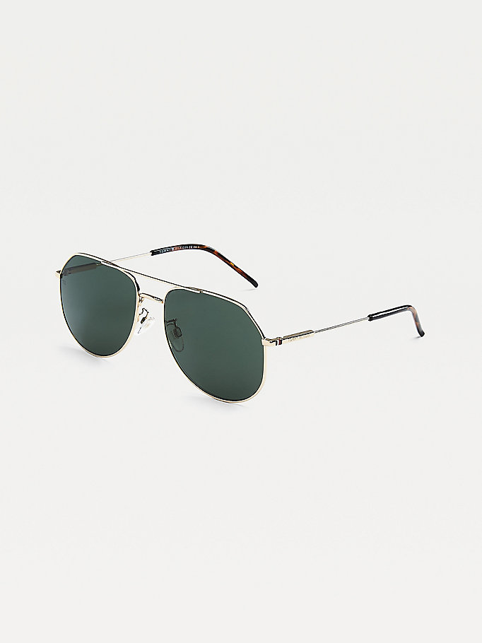 gold metal aviator sunglasses for unisex tommy hilfiger