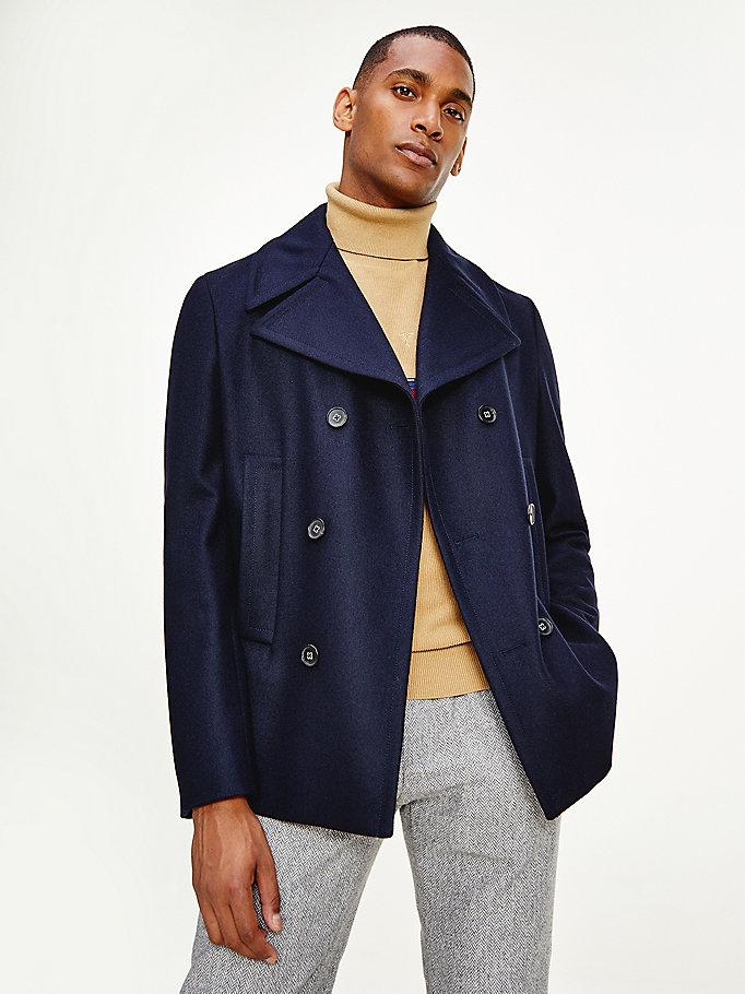 Slim Fit Wool Blend Peacoat Blue, Mens Peacoat Slim Fit Grey