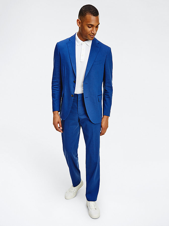 blauw regular fit blazer voor men - tommy hilfiger