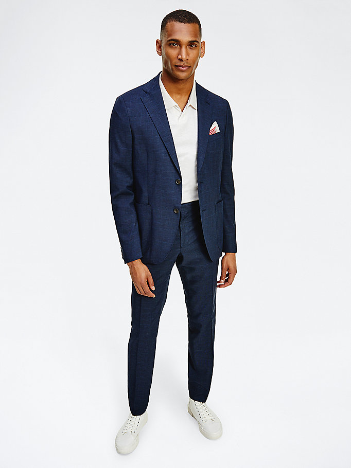 blue check trousers for men tommy hilfiger