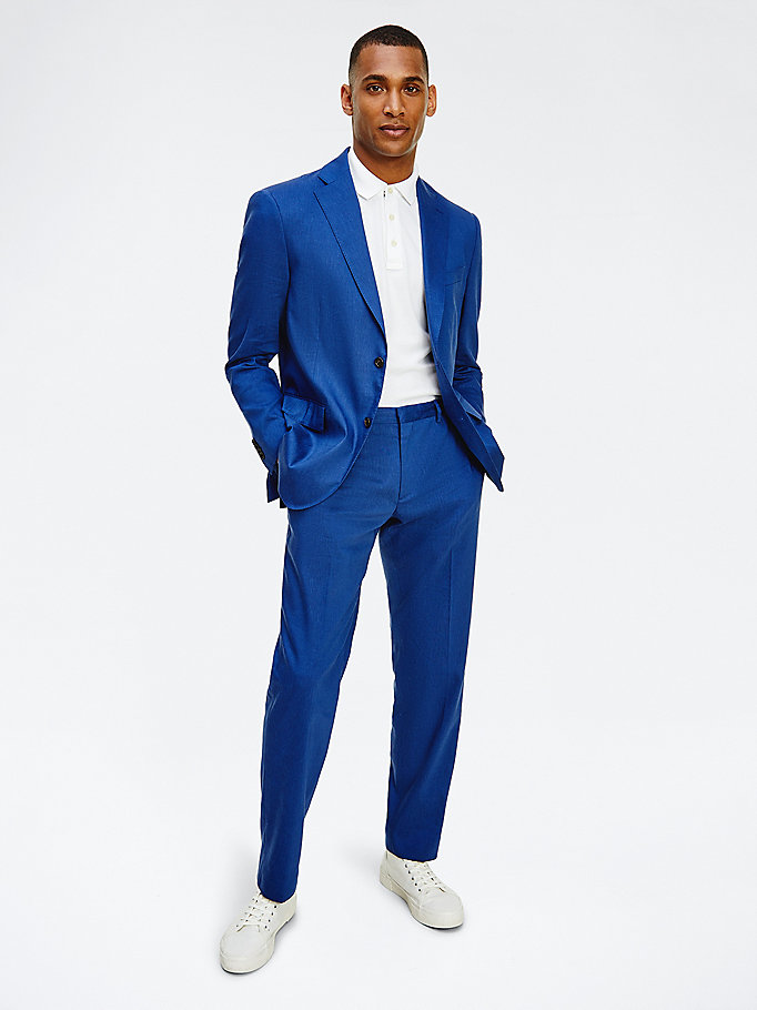blue textured trousers for men tommy hilfiger
