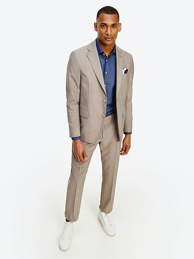 brown slim fit blazer for men tommy hilfiger