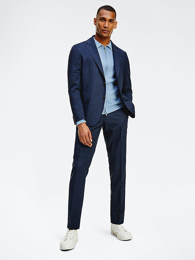 blue check slim fit trousers for men tommy hilfiger