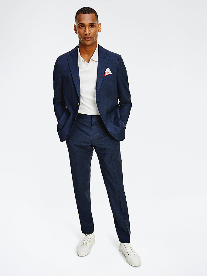 blue check slim fit blazer for men tommy hilfiger