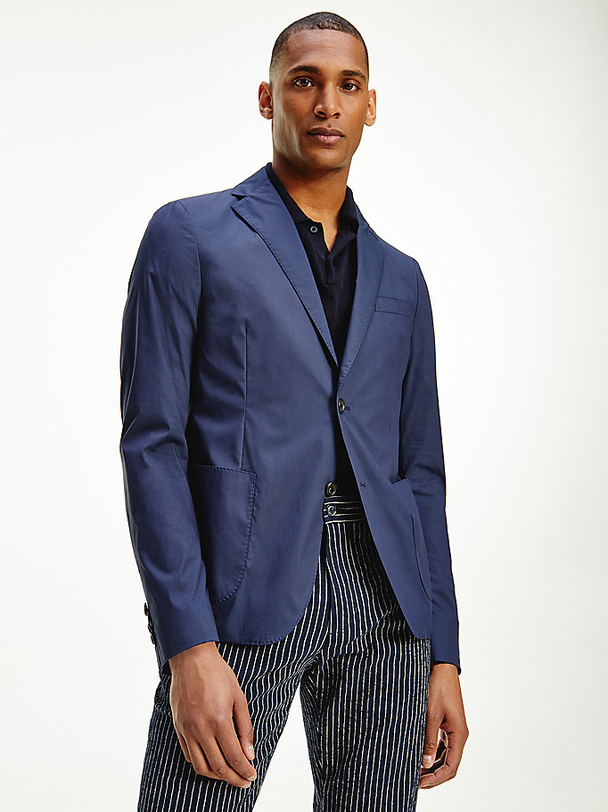 blue cotton single breasted slim fit blazer for men tommy hilfiger