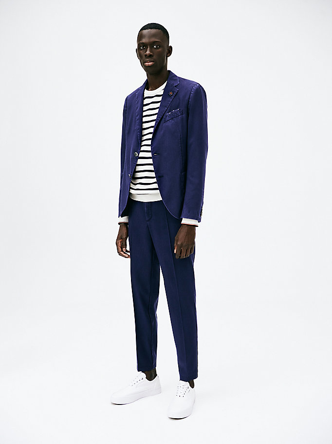 blue tommy x lardini garment dyed blazer for men tommy hilfiger