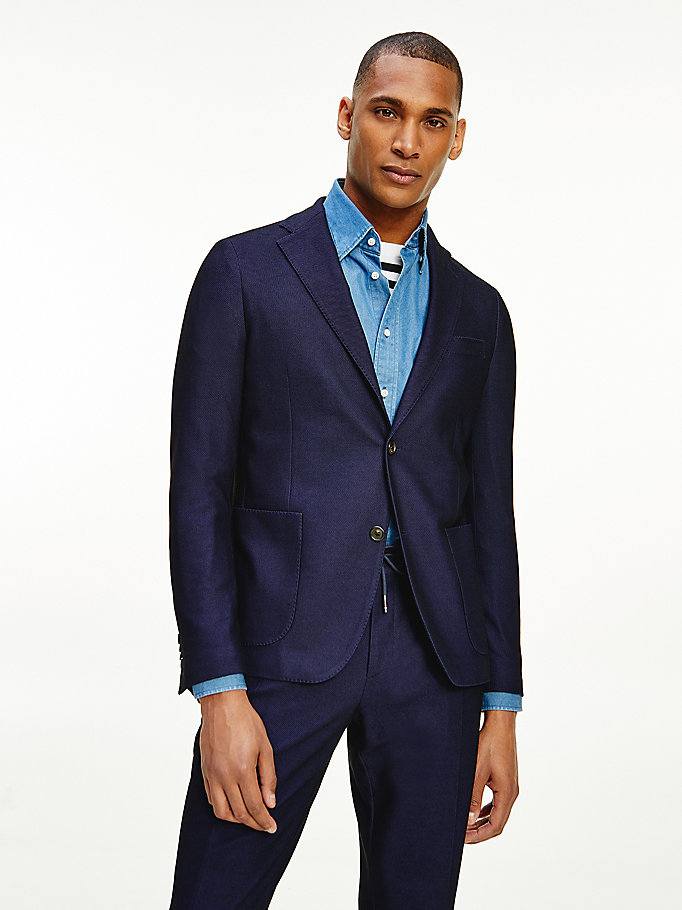 blue micro print jersey blazer for men tommy hilfiger