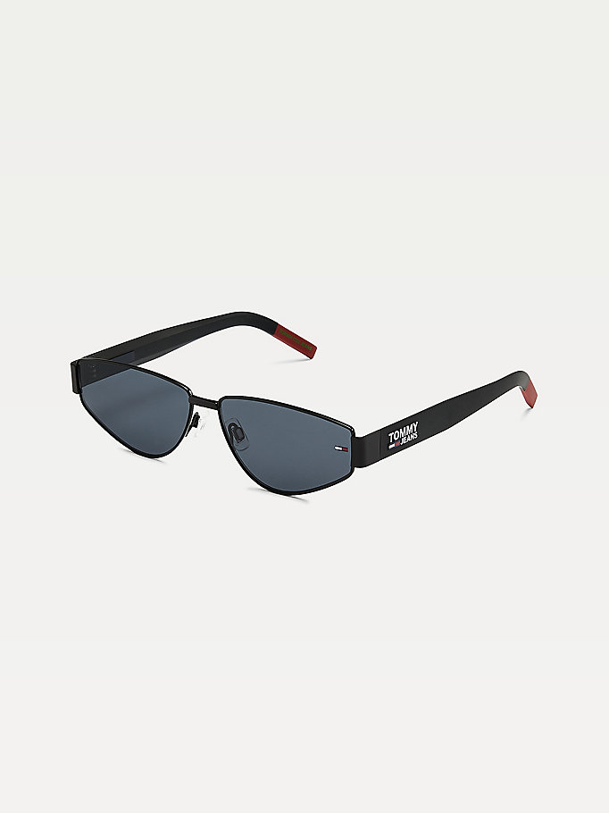 black mirrored triangular sunglasses for unisex tommy jeans