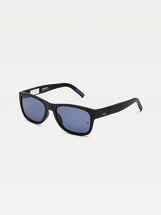 black contrast end tips rectangular sunglasses for unisex tommy jeans