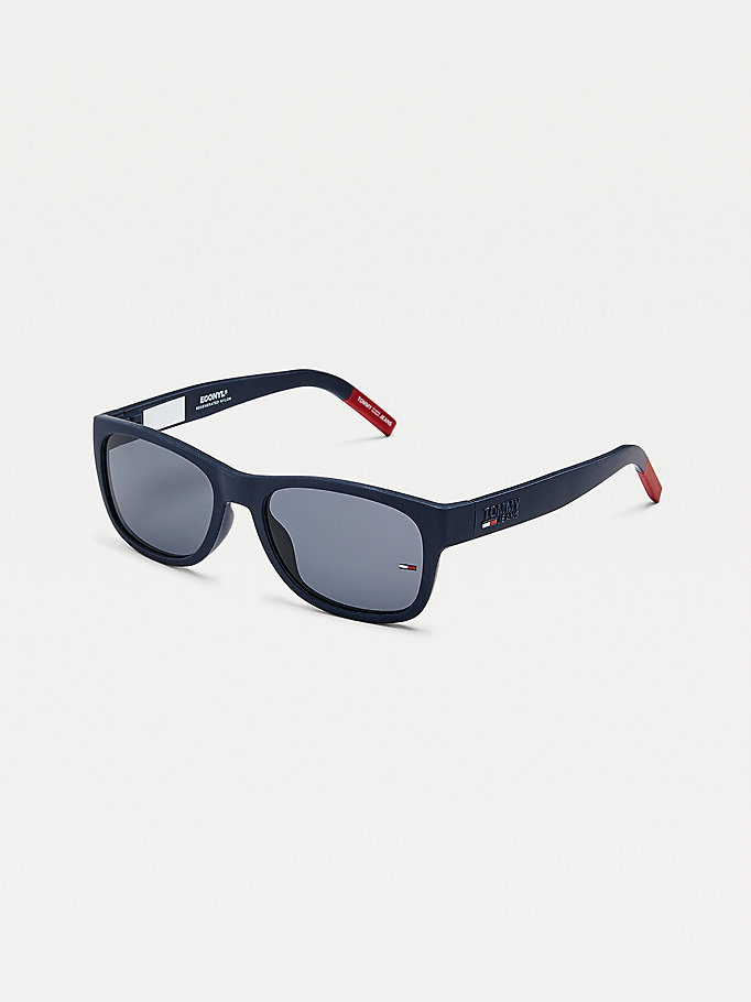 blue contrast end tips rectangular sunglasses for unisex tommy jeans