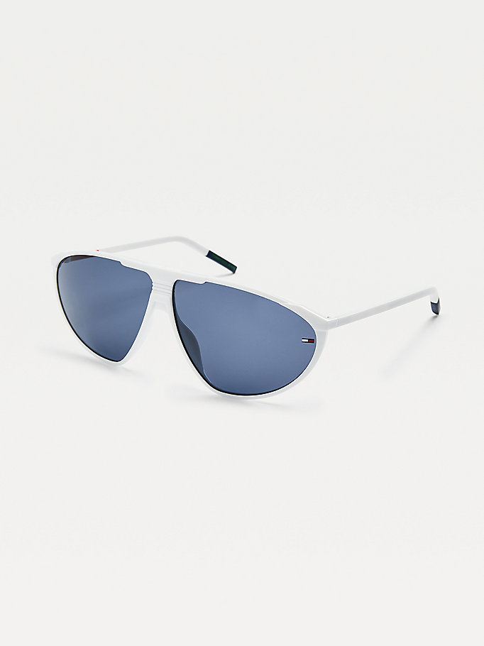 white triangular sunglasses for unisex tommy jeans