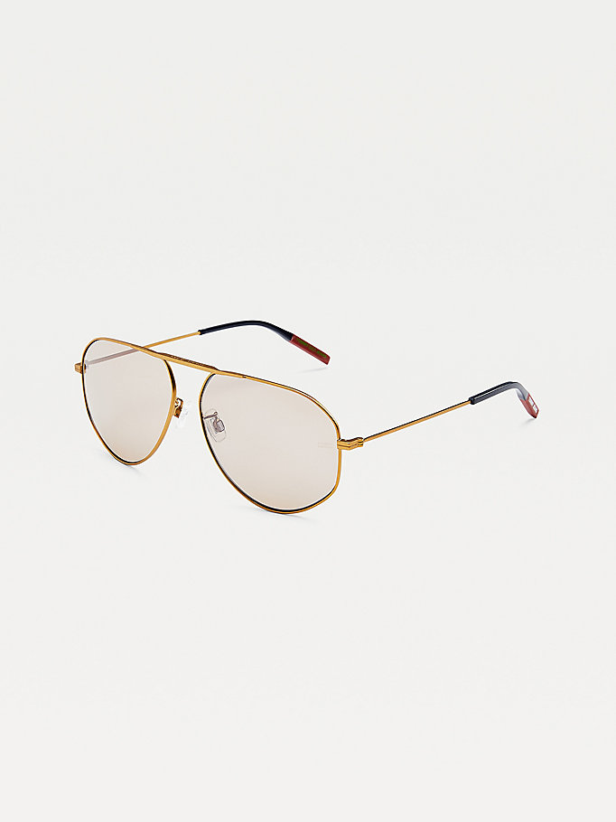 yellow mono-bridge aviator sunglasses for unisex tommy jeans