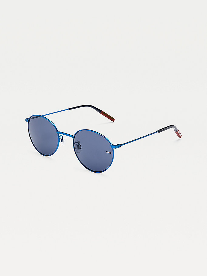 blue round lens sunglasses for unisex tommy jeans