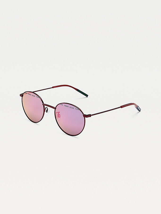 purple round lens sunglasses for unisex tommy jeans