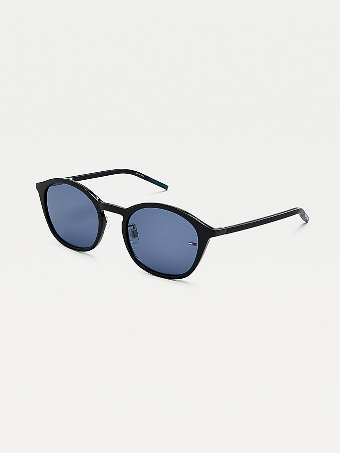 black flag detail oval sunglasses for unisex tommy jeans