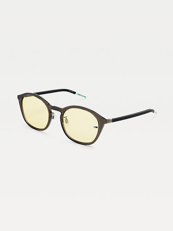 grey flag detail oval sunglasses for unisex tommy jeans