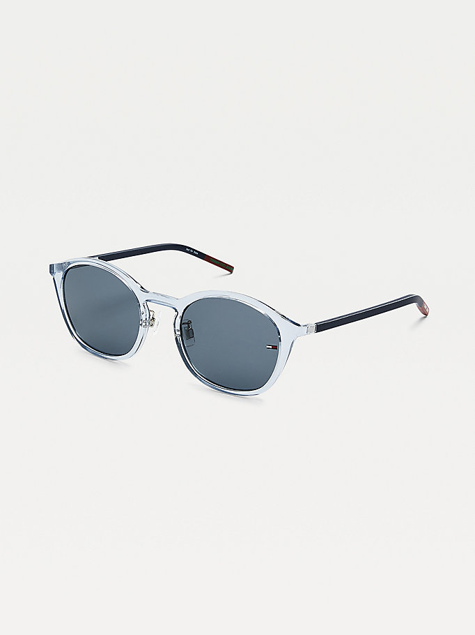 blue flag detail oval sunglasses for unisex tommy jeans