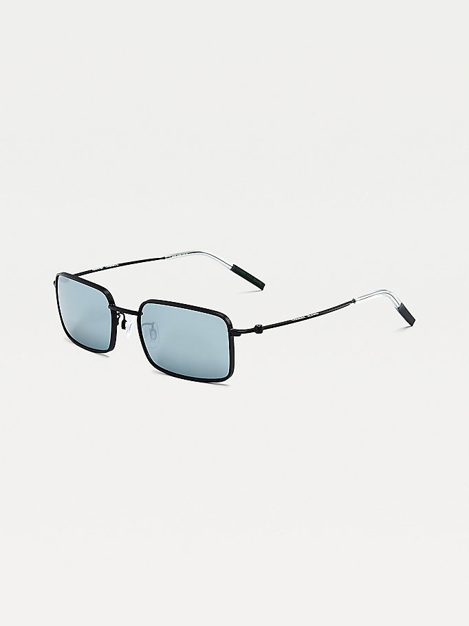 black slim rectangular sunglasses for unisex tommy jeans