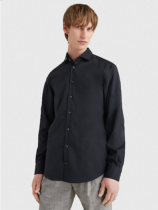 TOMMY HILFIGER Slim Fit Stretch Cotton Shirt - 099 - TOMMY HILFIGER Formal Shirts - main image