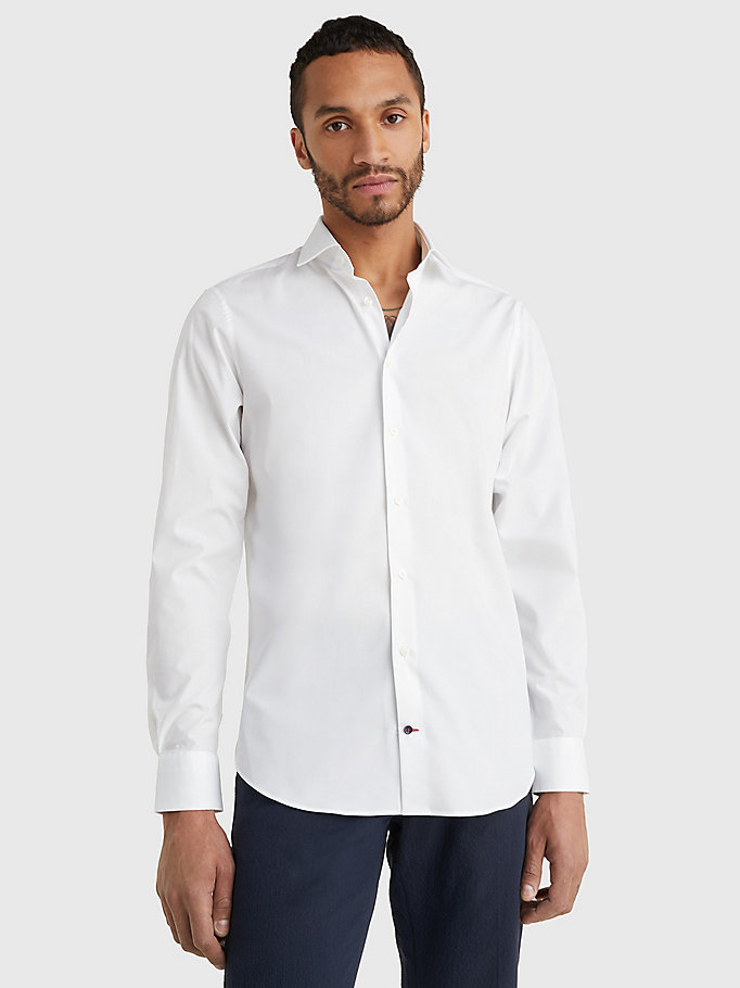 wit slim fit overhemd van stretchkatoen voor men - tommy hilfiger