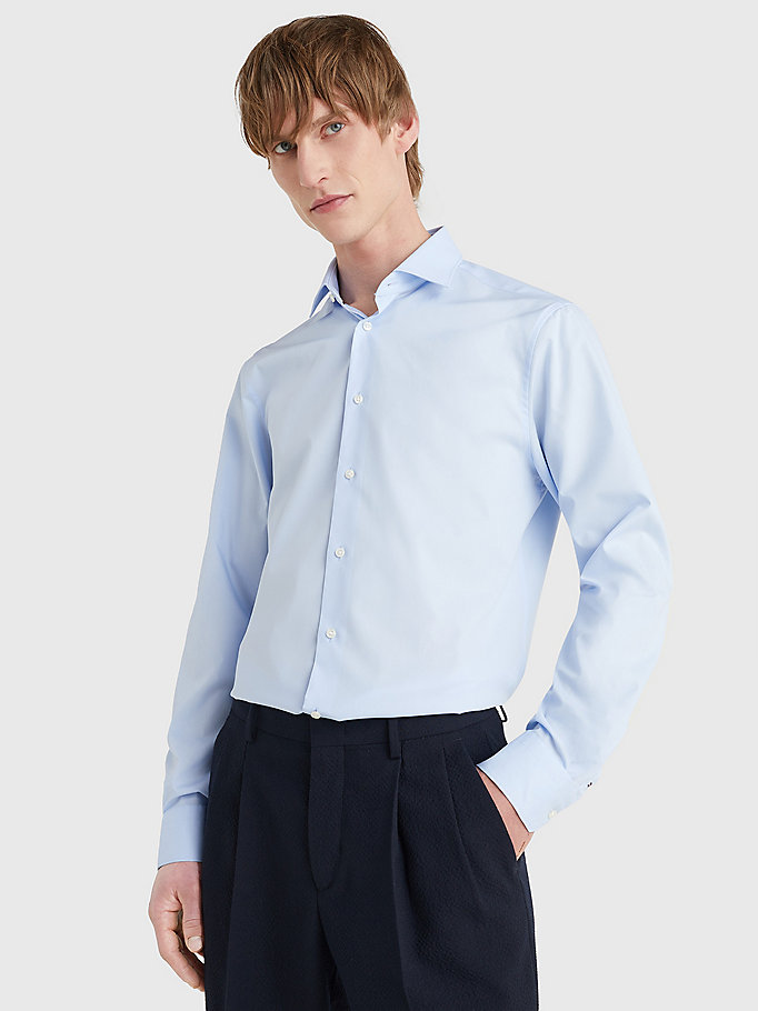 TOMMY HILFIGER Slim Fit Stretch Cotton Shirt - 099 - TOMMY HILFIGER Men - main image