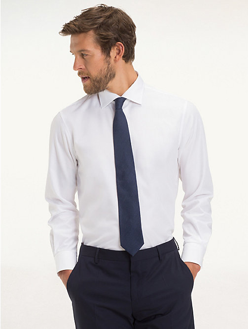 TOMMY HILFIGER Poplin Fitted Shirt - 100 - TOMMY HILFIGER Tailored - detail image 1