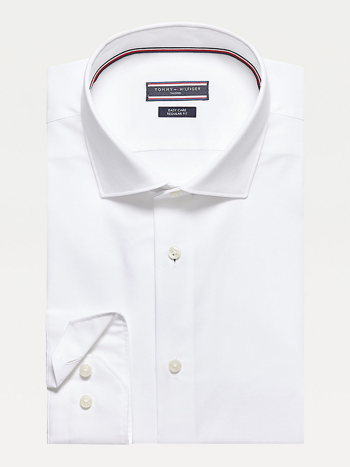 white poplin fitted shirt for men tommy hilfiger