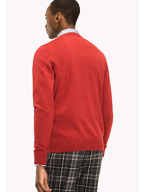 TOMMY HILFIGER Wool Jumper - HAUTE RED HEATHER - TOMMY HILFIGER Jumpers - detail image 1