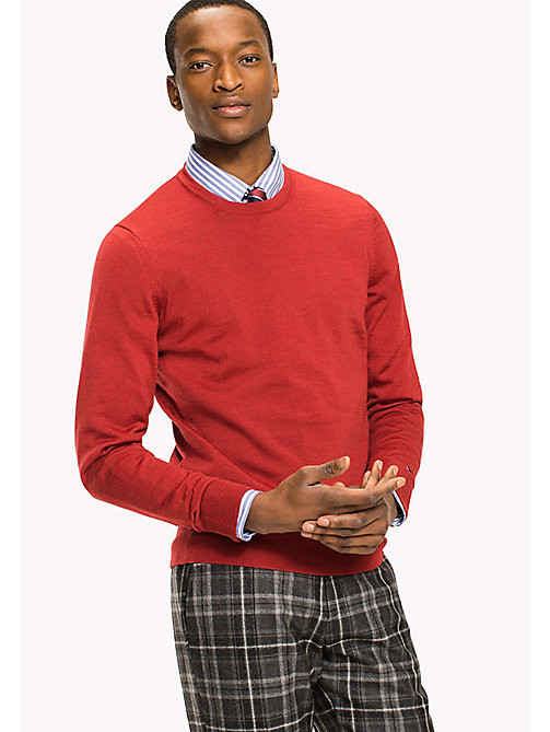 TOMMY HILFIGER Wełniany sweter - HAUTE RED HEATHER - TOMMY HILFIGER Men - main image