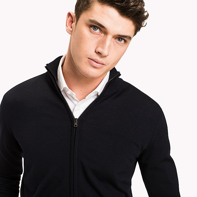 TOMMY HILFIGER Wool Zip Through Cardigan - CLOUD HEATHER - TOMMY HILFIGER Clothing - detail image 2