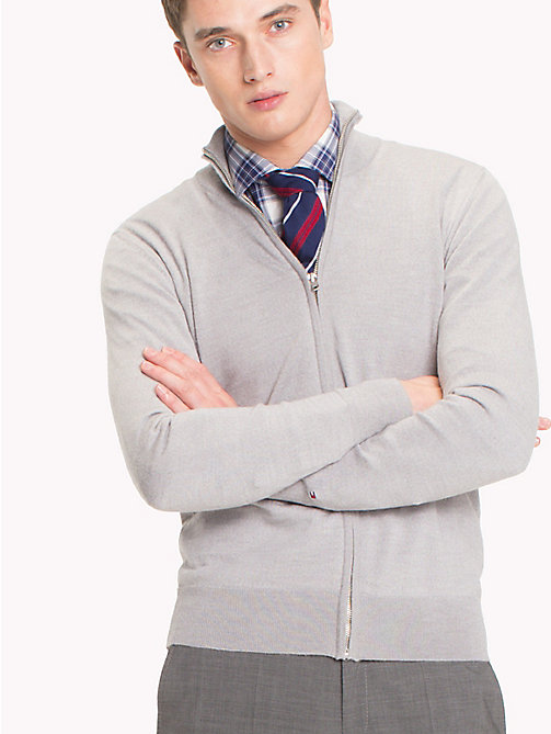 TOMMY HILFIGER Wool Zip Through Cardigan - CLOUD HEATHER - TOMMY HILFIGER Tailored - main image