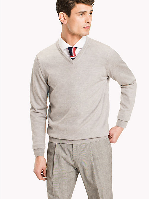 TOMMY HILFIGER V-Neck Wool Jumper - GRAY VIOLET HEATHER - TOMMY HILFIGER Pulls - image principale