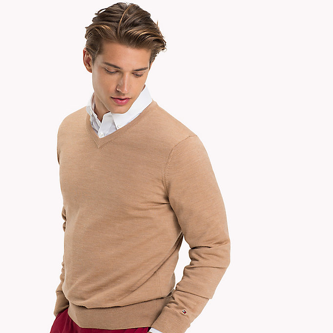 TOMMY HILFIGER V-Neck Wool Jumper - CLOUD HEATHER - TOMMY HILFIGER Men - detail image 2