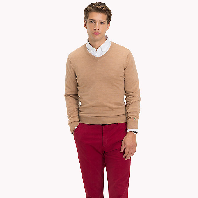 TOMMY HILFIGER V-Neck Wool Jumper - CLOUD HEATHER - TOMMY HILFIGER Men - main image