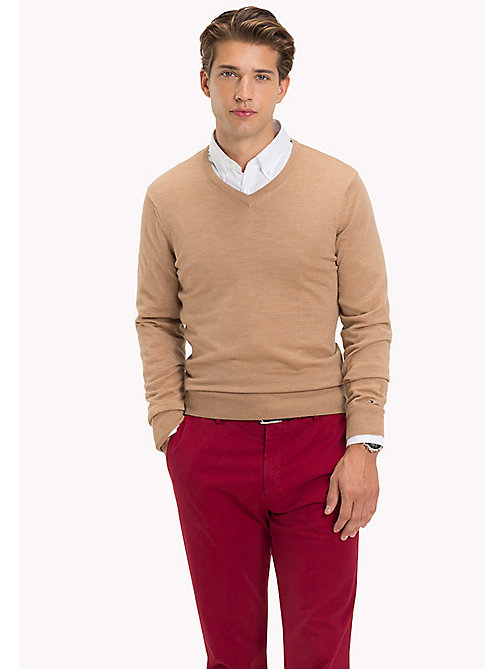 TOMMY HILFIGER V-Neck Wool Jumper - TANNIN HEAHTER - TOMMY HILFIGER Jumpers - main image