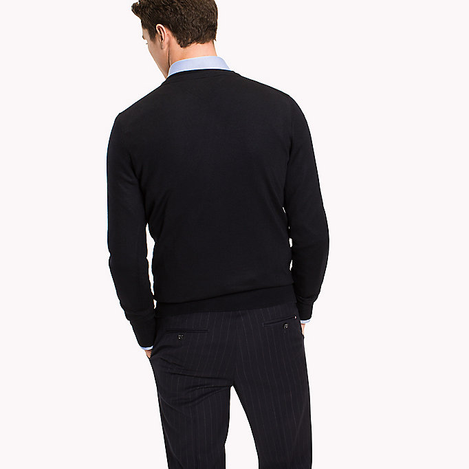 TOMMY HILFIGER V-Neck Wool Jumper - DARK DENIM - TOMMY HILFIGER Men - detail image 1