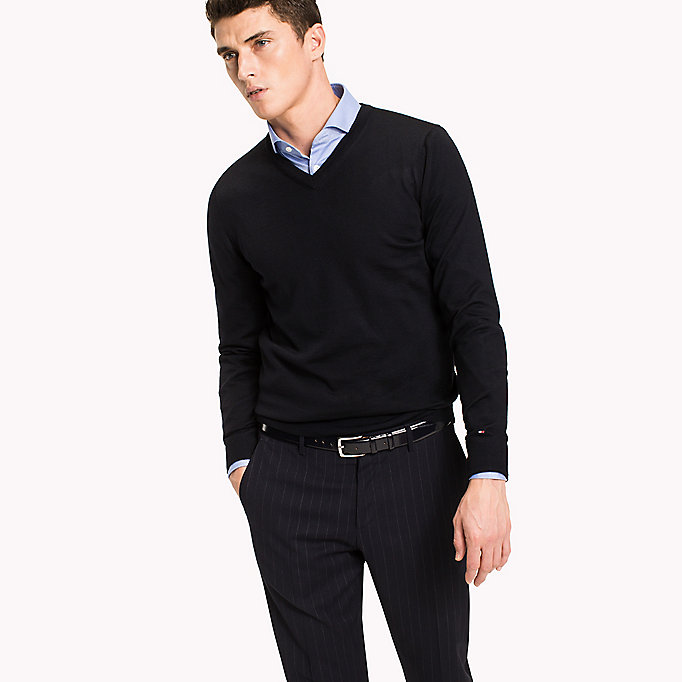 TOMMY HILFIGER V-Neck Wool Jumper - DARK DENIM - TOMMY HILFIGER Men - main image