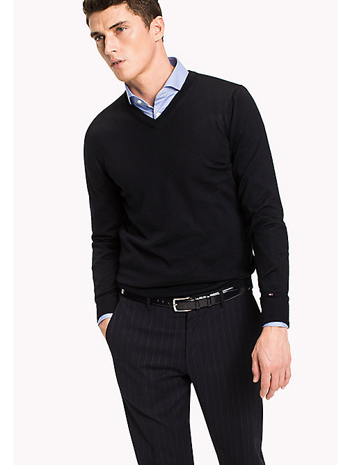 TOMMY HILFIGER V-Neck Wool Jumper - SKY CAPTAIN - TOMMY HILFIGER Tailored - main image