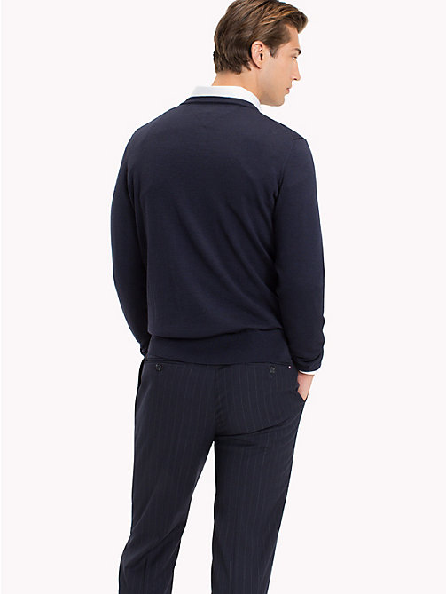 TOMMY HILFIGER V-Neck Wool Jumper - NAVY BLAZER - TOMMY HILFIGER Jumpers - detail image 1