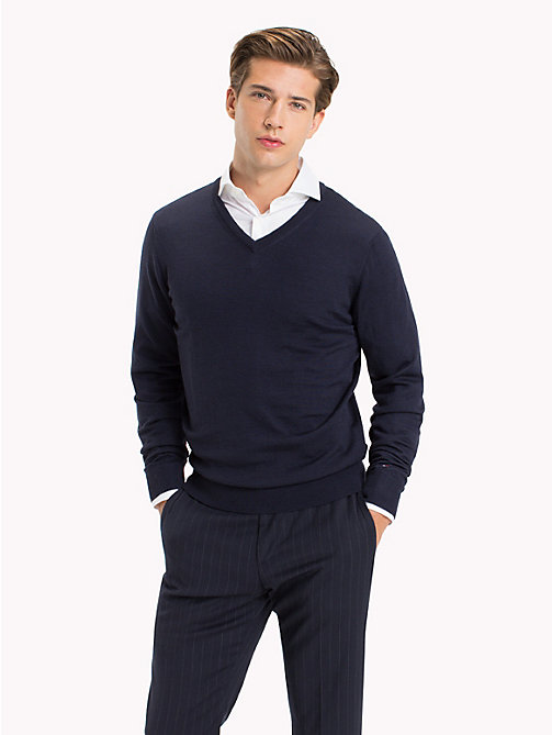 TOMMY HILFIGER V-Neck Wool Jumper - NAVY BLAZER - TOMMY HILFIGER Jumpers - main image