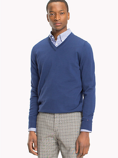 TOMMY HILFIGER V-Neck Wool Jumper - LIMOGES - TOMMY HILFIGER Jumpers - main image
